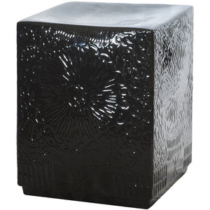 Garden Stool Square Ceramic - Black