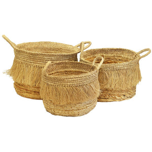 Tassel Baskets Natural S/3