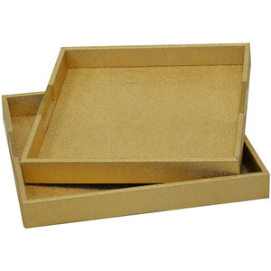 Tray Shagreen Gold Square S/2