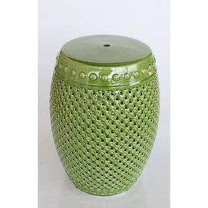 Green Ceramic Cut Out Garden Stool