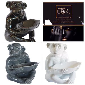 Ceramic Gin Bar Monkey Bowl - Black (XLRG)