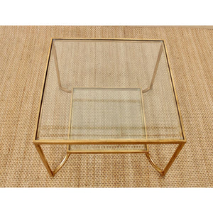 Side Table Gold Square Bevelled Glass