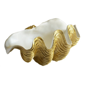 Clam Shell White and Gold (LRG)