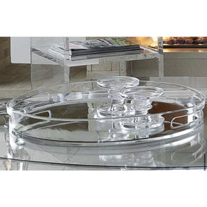 Perspex Round Tray with Mirror Base (Clear)
