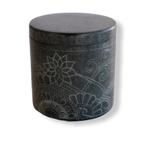 Round Container Soap Stone Engraved