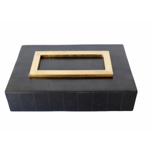 Decorative Bone Box Black with Gold Trim