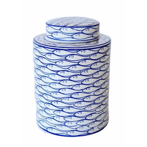 Jar Ceramic Round School of Fish Blue