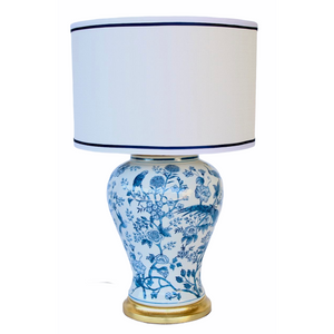 Lamp Blue & White Bird with Shade (65cm)