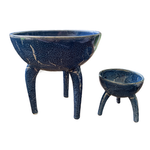 Ceramic Tripod Bowl Reactive Blue