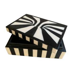 Box Luxe Patterned Black and Cream Rectangular