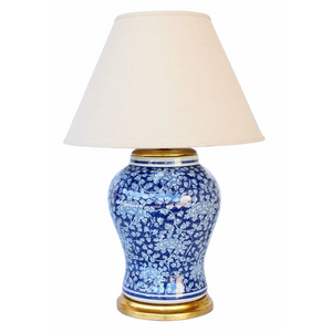 Lamp Dark Blue & White Floral with Shade (73cm)