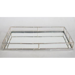 Silver Bamboo like Mirror Tray