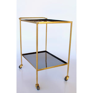 Drinks Trolley Mirrored (Black and Gold)