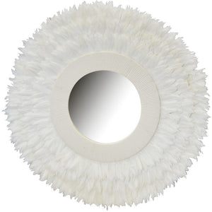 Mirror Round Feathered Balu White