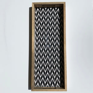Tray - Wooden Rectangular (Black and White)