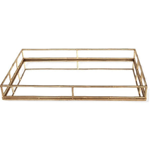 Tray Mirrored Gold Bamboo Like (LRG)