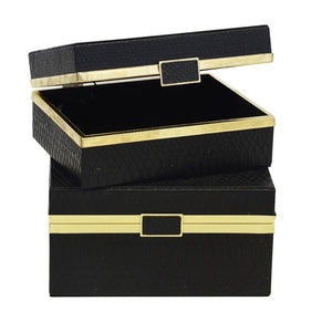 Box Set Shagreen Snake Black & Gold S/2