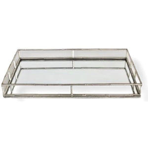 Tray Mirrored Silver Bamboo Like (LRG)