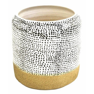 Bowl Ceramic Planter Pot spotted Black & Natural