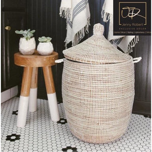 Woven Laundry Basket - African (Natural White)