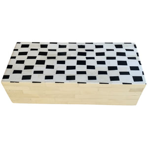 Bone Box Checkered Black and Cream Rectangular