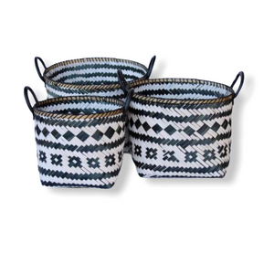 Baskets Tribal Patterned Leather Handles S/3