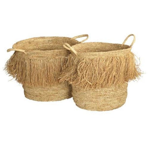 Tassel Baskets Natural ((LRG) S/2