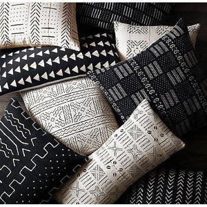Mud Cloth Cushion with Inner(60cm x 50cm) Black and Cream