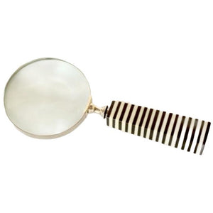 Magnifying Glass Black and Cream Striped
