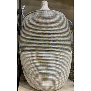Woven Laundry Basket - African Grey & White (LRG)