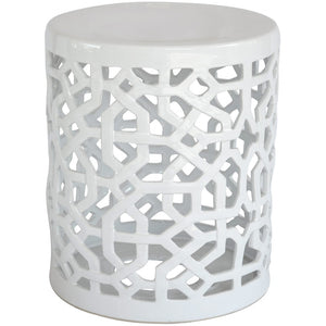 Stool Ceramic Cutwork Crisp White