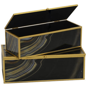 Decorative Box Glass Agate Black and Gold S/2