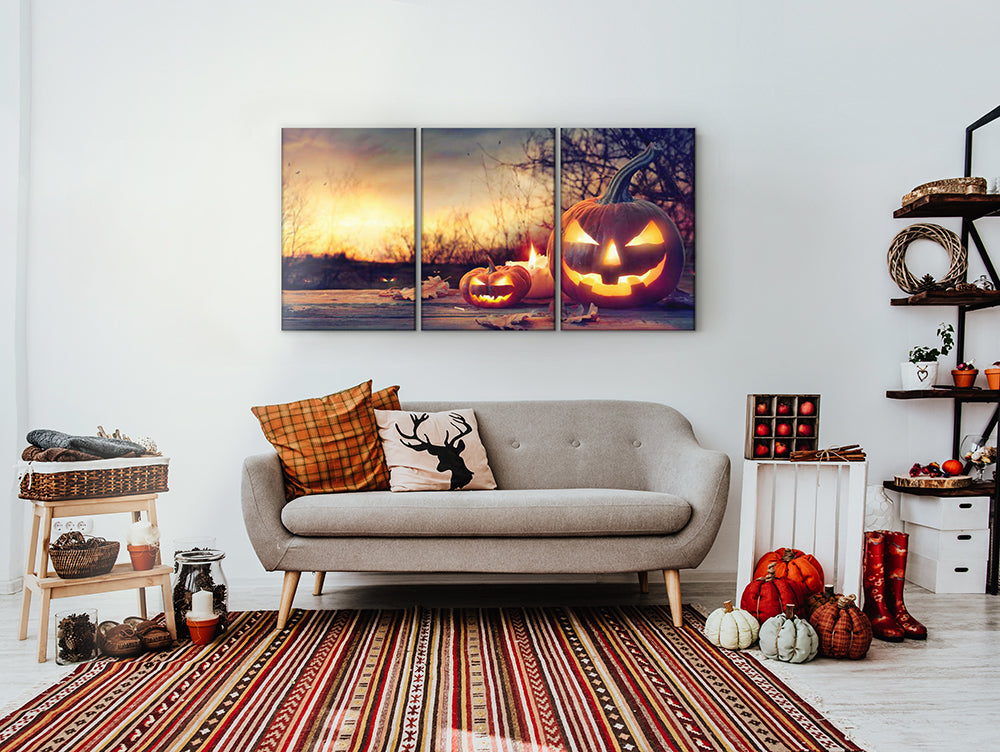 Halloween Pumpkin Lanterns Multi Panel Canvas Wall Art