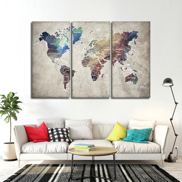 wall art, world map, home decor, neutral colors