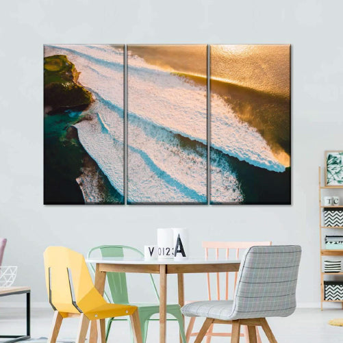 Big Waves Nightfall Multi Panel Canvas Wall Art