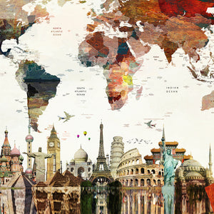 Landmarks - World-map Canvas Wall Art Sub Collection