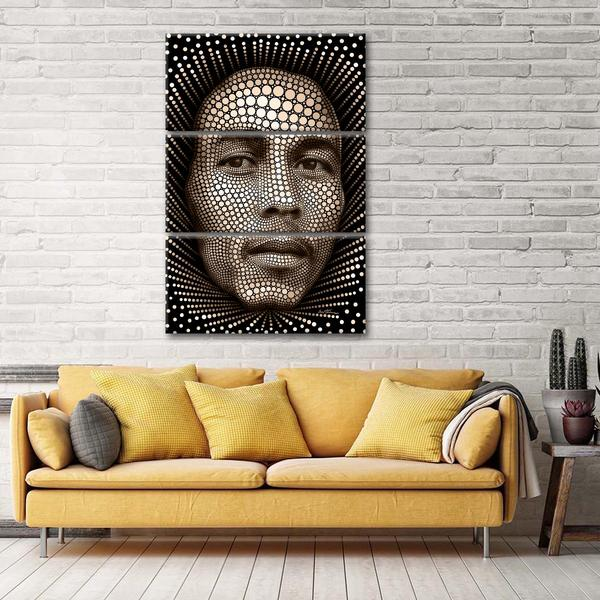 Digital Bob Marley Multi Panel Canvas Wall Art by Ben Heine