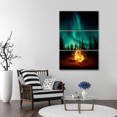 northern lights, campfire, wall art, canvas, home decor