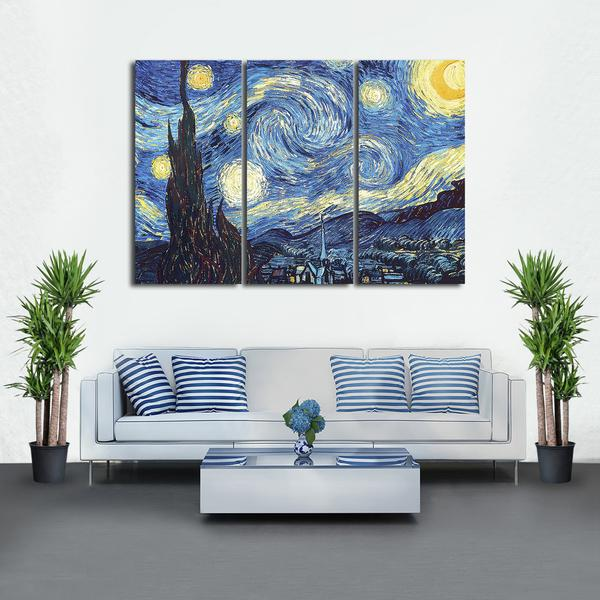 The Starry Night Multi Panel Canvas Wall Art