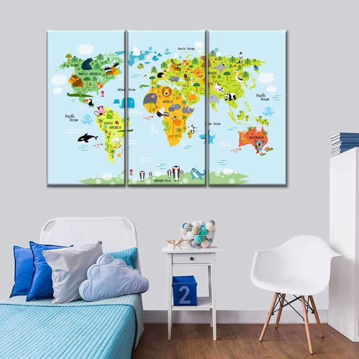 Animal World Map wall art