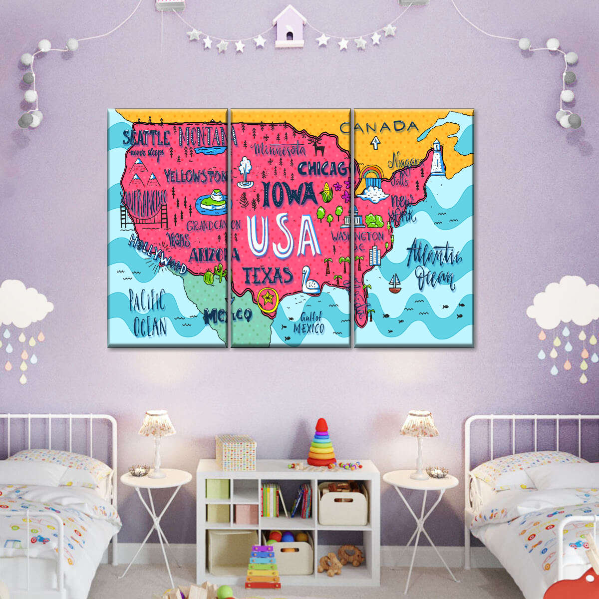 Exciting USA Map Multi Panel Canvas Wall Art