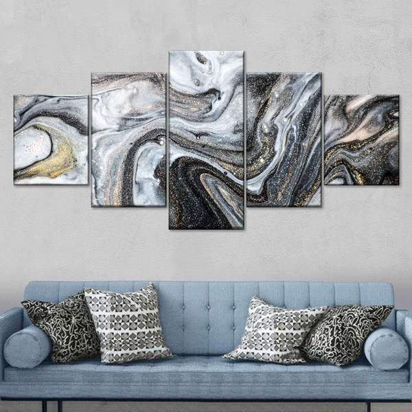 Sparkling Abstract Multi Panel Canvas Wall Art