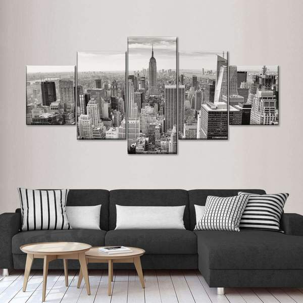 Massive Manhattan Skyline Multi Panel Canvas Wall Art