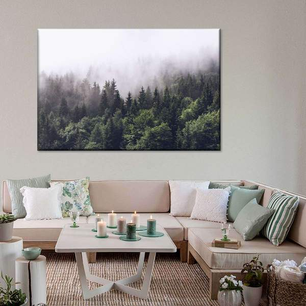 Cloudy Forest Multi Panel Canvas Wall Art