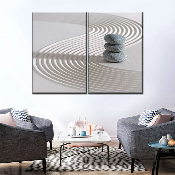 Stacked Spa Stones Multi Panel Canvas Wall Art