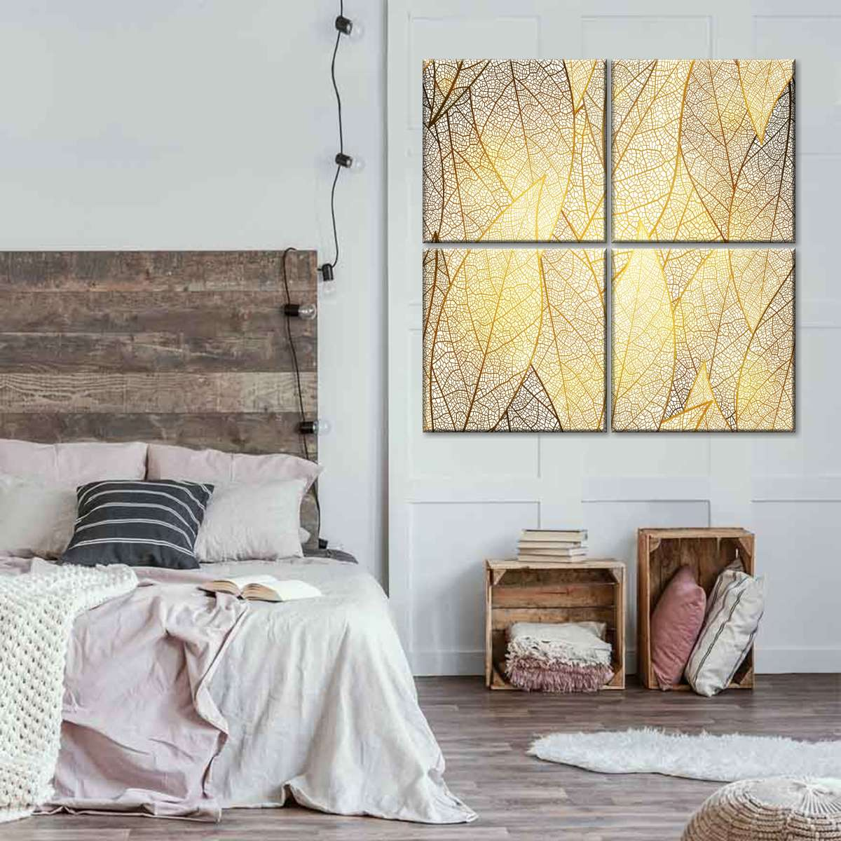 Golden Autumn Leaves Multi Panel Canvas Wall Art