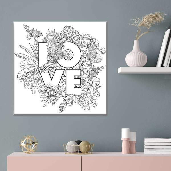 Summer Floral Love Canvas Wall Art