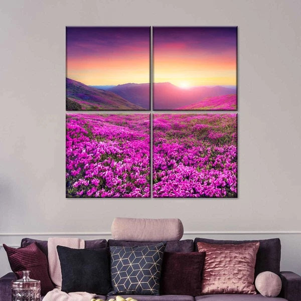 Pink Flower Mountain Multi Panel Canvas Wall Art