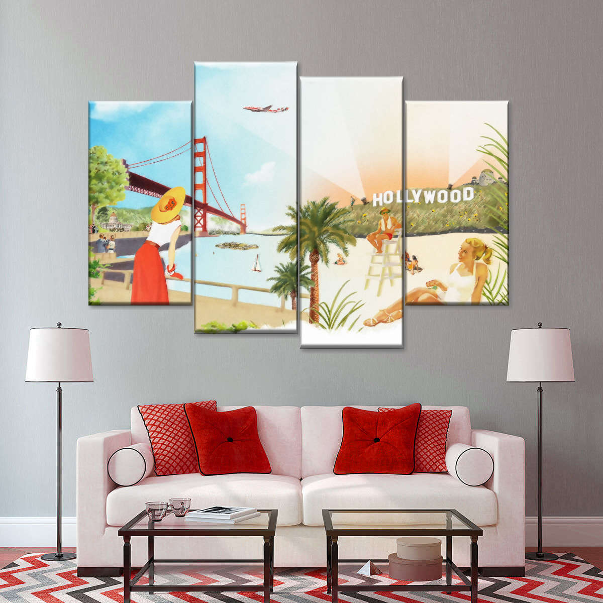 Hollywood Life Multi Panel Canvas Wall Art