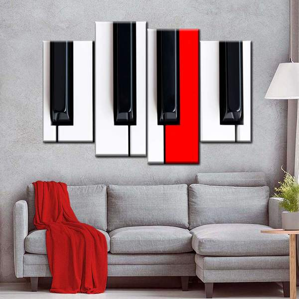 Red Piano Key Multi Panel Canvas Wall Art